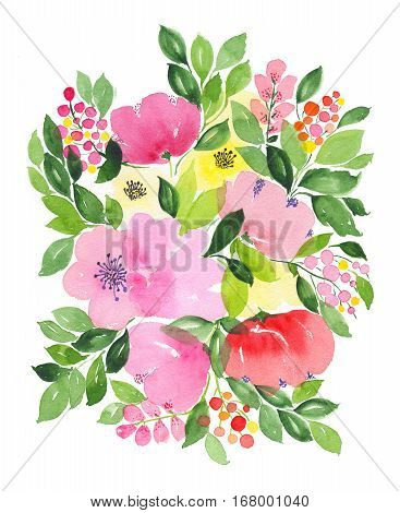 Watercolor bouquet with abstract flowers leaves isolated on white background illustration. Flowers and plants. Perfect for wedding holidays invitation birthday