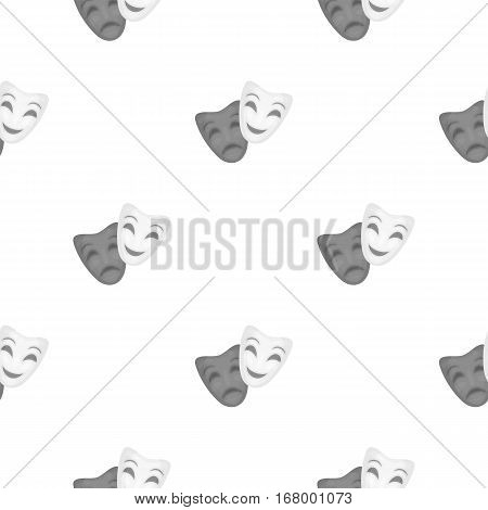Theater masks icon in cartoon style isolated on white background. Theater pattern vector illustration
