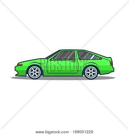 Vector old j sport car. Green cartoon car. Side view.