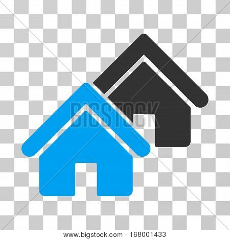 Realty icon. Vector illustration style is flat iconic bicolor symbol, blue and gray colors, transparent background. Designed for web and software interfaces.