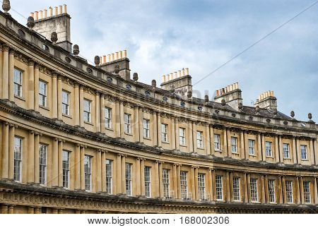 BATH, ENGLAND - JULY 28:  the Circus, architectural example of a georgian architecture, by architect John Wood, the Elder on July 28, 2015 in Bath, Somerset, England