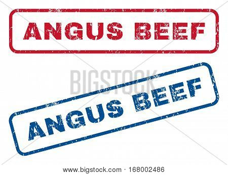 Angus Beef text rubber seal stamp watermarks. Vector style is blue and red ink tag inside rounded rectangular banner. Grunge design and scratched texture. Blue and red stickers.