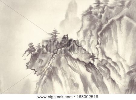 Landscape with mountains on rice paper background. Traditional oriental ink painting sumi-e