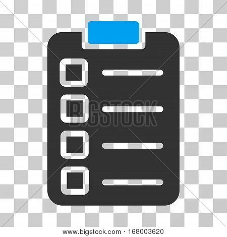 Test Task icon. Vector illustration style is flat iconic bicolor symbol, blue and gray colors, transparent background. Designed for web and software interfaces.
