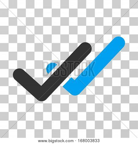 Validation icon. Vector illustration style is flat iconic bicolor symbol, blue and gray colors, transparent background. Designed for web and software interfaces.