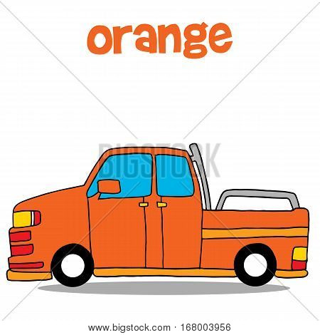 Transportation of orange car vector art collection stock