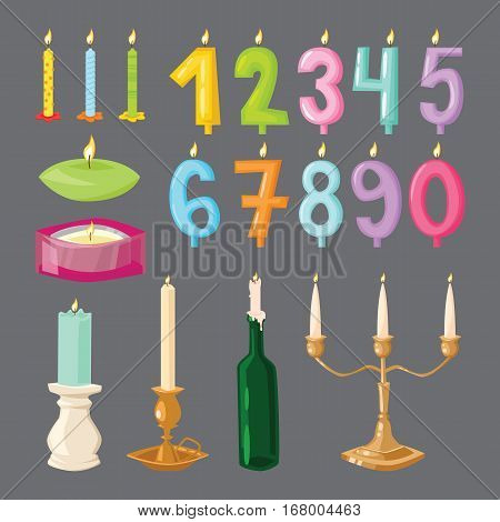 Vector ceremony candle birthday numbers with fire illustration. Burning warm glowing shiny collection. Colorful wax bright spirituality relaxation decoration.