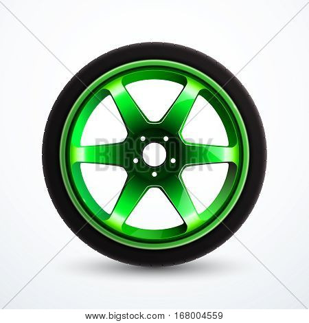Vector sport wheel with green rim. Car alloy wheel isolated