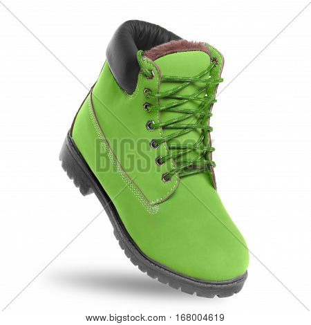 Green boot. Angle view. Isolated on white background