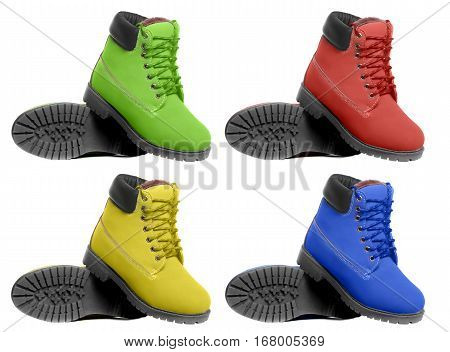 Set of multicolored boots. Angle view. Isolated on white background