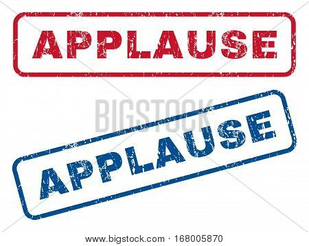 Applause text rubber seal stamp watermarks. Vector style is blue and red ink tag inside rounded rectangular shape. Grunge design and dust texture. Blue and red stickers.