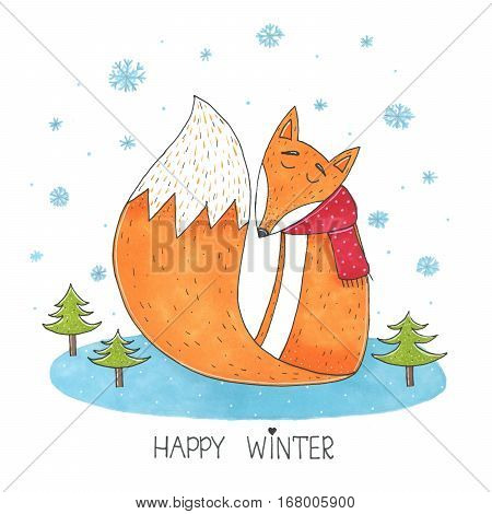 Cute marker fox in scarf in winter sitting on meadow surrounded by fir trees and it is snowy illustration. Happy winter card. Perfect for holidays invitation birthday