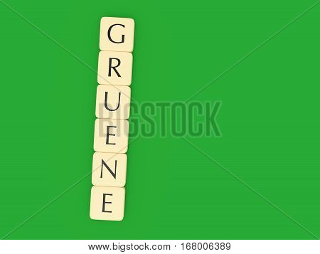 BERLIN GERMANY - FEBRUARY 1 2017: German Politics Concept: Letter Tiles Gruene (The Greens) 3d illustration