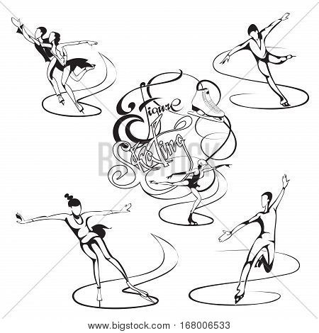 Ice figure skating set with professional skaters and calligraphic inscription in monochrome style isolated vector illustration