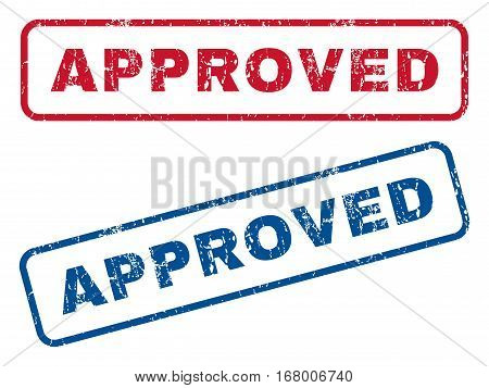 Approved text rubber seal stamp watermarks. Vector style is blue and red ink caption inside rounded rectangular shape. Grunge design and scratched texture. Blue and red stickers.