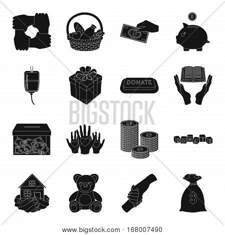 Charity and donation set icons in black design. Big collection of charity and donation vector symbol stock illustration