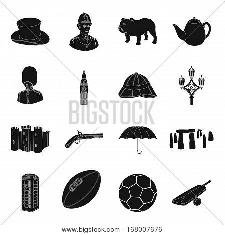 England country set icons in black design. Big collection of England country vector symbol stock illustration