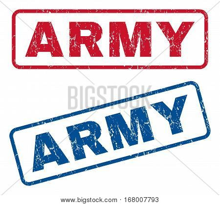 Army text rubber seal stamp watermarks. Vector style is blue and red ink tag inside rounded rectangular shape. Grunge design and dirty texture. Blue and red emblems.