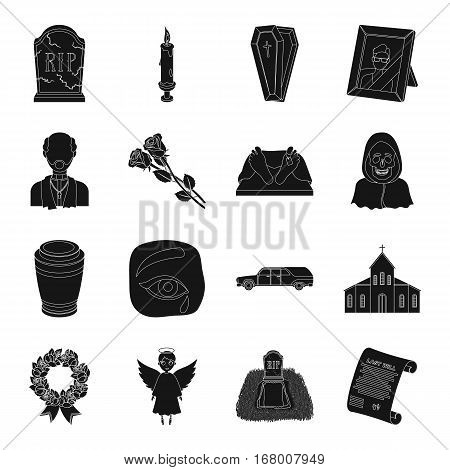 Funeral ceremony set icons in black design. Big collection of funeral ceremony vector symbol stock illustration