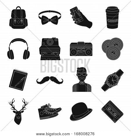 Hipster style set icons in black design. Big collection of hipster style vector symbol stock illustration