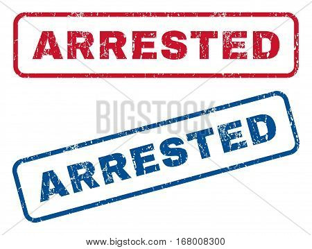 Arrested text rubber seal stamp watermarks. Vector style is blue and red ink caption inside rounded rectangular shape. Grunge design and dirty texture. Blue and red emblems.