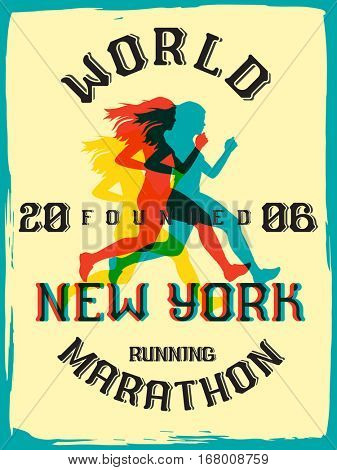 World marathon series retro poster. New York City marathon running. Vintage custom typeface.
