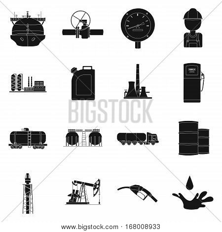 Oil industry set icons in black design. Big collection of oil industry vector symbol stock illustration