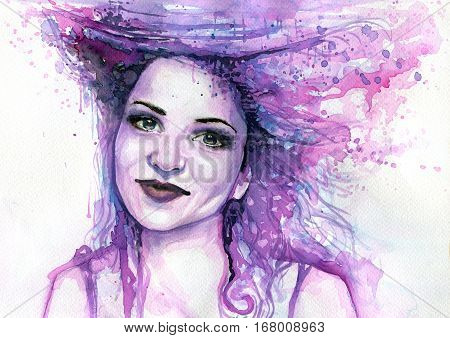 Illustration of abstract and whimsical watercolor portrait of a woman.