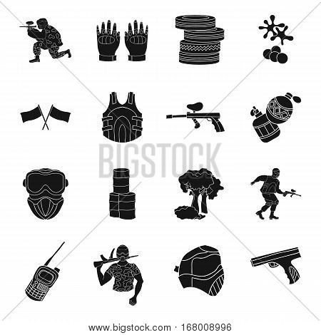 Paintball set icons in black design. Big collection of paintball vector symbol stock illustration