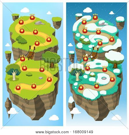 Mobile game level map concept with summer winter landscape road and natural elements on island platform vector illustration