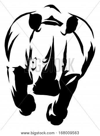 black and white linear draw rhino illustration