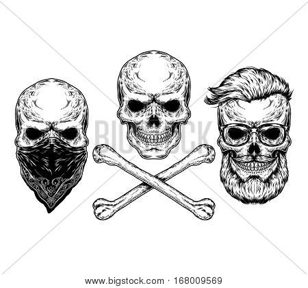 Collection of illustrations of skulls and crossbones, engraving. Print for T-shirts