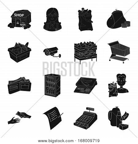 Supermarket set icons in black design. Big collection of supermarket vector symbol stock illustration