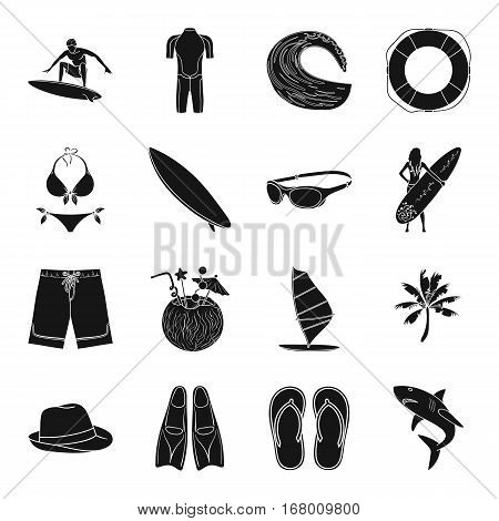 Surfing set icons in black design. Big collection of surfing vector symbol stock illustration