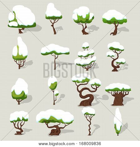 Winter snowbound trees collection of different shapes for ui video game design isolated vector illustration