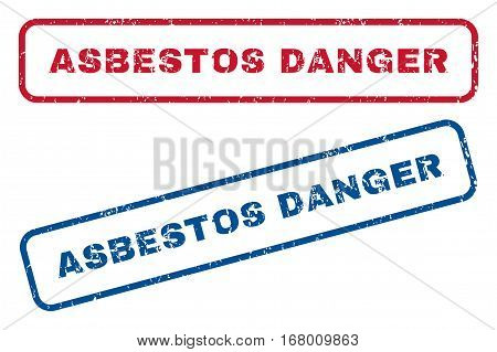 Asbestos Danger text rubber seal stamp watermarks. Vector style is blue and red ink tag inside rounded rectangular shape. Grunge design and dust texture. Blue and red signs.