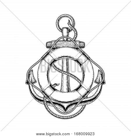 illustration of an old nautical anchor and life buoy on a white background. Print for T-shirts.