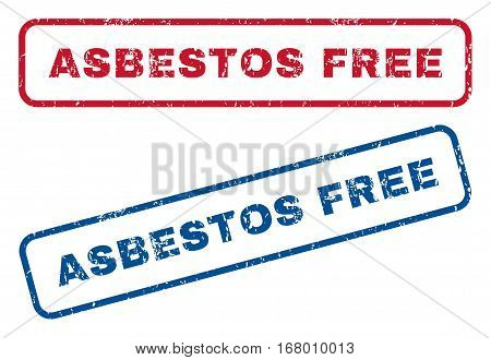 Asbestos Free text rubber seal stamp watermarks. Vector style is blue and red ink caption inside rounded rectangular banner. Grunge design and dust texture. Blue and red emblems.