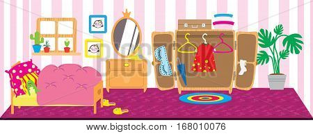 Dolls room interior. Horizontal back banner. Children playing vector background. Bedroom for doll. Flat style cartoon illustration.