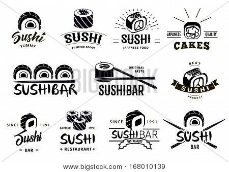 Monochrome japanese food labels set with different sushi and chopsticks on white background isolated vector illustration