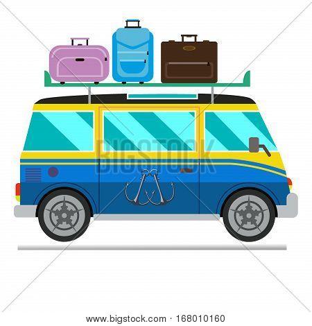Vector illustration of a retro travel van camping car. Caravan road trailer adventure. Travel vehicle summer vacation transport.