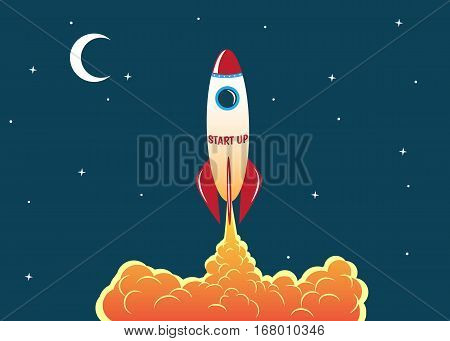 rocket soars into the sky.Start up idea concept.Business or space theme.Vector illustration
