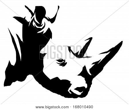black and white linear draw rhino illustration