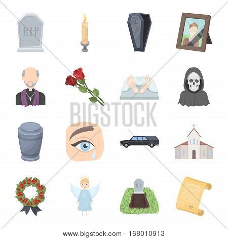 Funeral ceremony set icons in cartoon design. Big collection of funeral ceremony vector symbol stock illustration