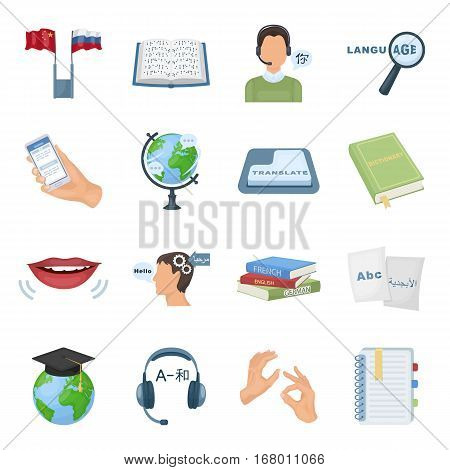 Interpreter and translator set icons in cartoon design. Big collection of interpreter and translator vector symbol stock illustration