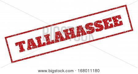 Red rubber seal stamp with Tallahassee text. Vector tag inside rectangular frame. Grunge design and dust texture for watermark labels. Inclined sign.