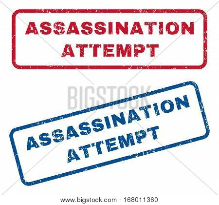 Assassination Attempt text rubber seal stamp watermarks. Vector style is blue and red ink caption inside rounded rectangular shape. Grunge design and dust texture. Blue and red stickers.