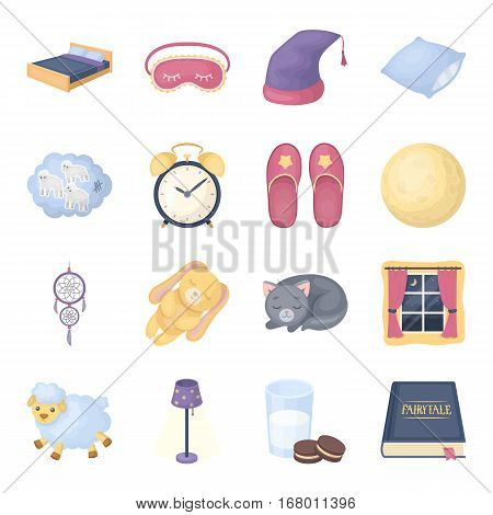 Sleep and rest set icons in cartoon design. Big collection of sleep and rest vector symbol stock illustration