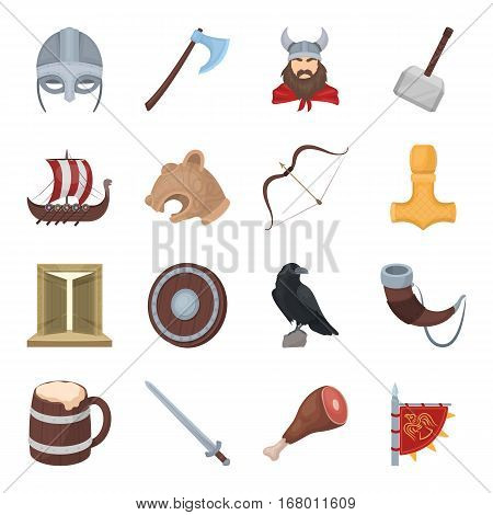 Vikings set icons in cartoon design. Big collection of vikings vector symbol stock illustration