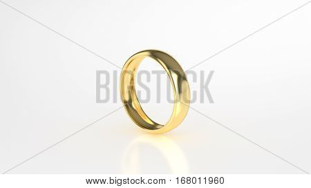The beauty gold ring on white background. 3d rendering